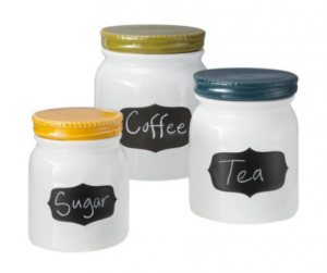 Stoneware Chalk Canisters