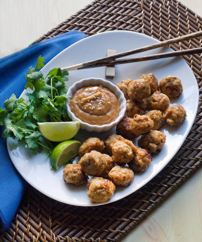 Chicken Meatballs with Thai Peanut Sauce by Carol Kicinski