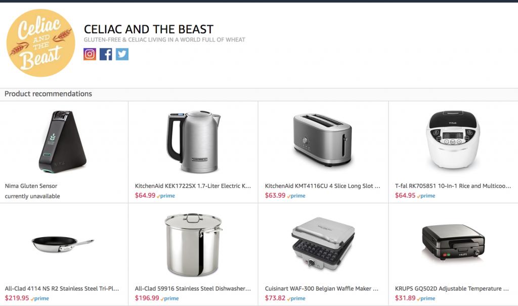 Amazon.com Influencer page of Celiac and the Beast