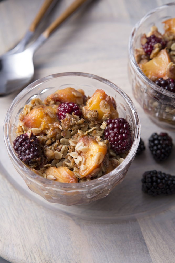 Delicious Living Pear and Blackberry Crumble
