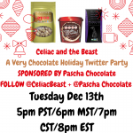 Pascha Chocolate + Celiac and the Beast TWITTER PARTY