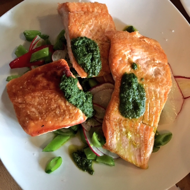 Salmon at Ground Breaker Brewing 100% Gluten-Free Restaurant in Portland, OR #GFBloggerRetreat