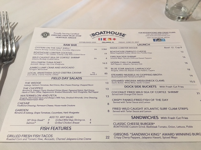 The MENU at the Boathouse, anything can be made Gluten Free Dairy Free at The Boathouse Disney Springs