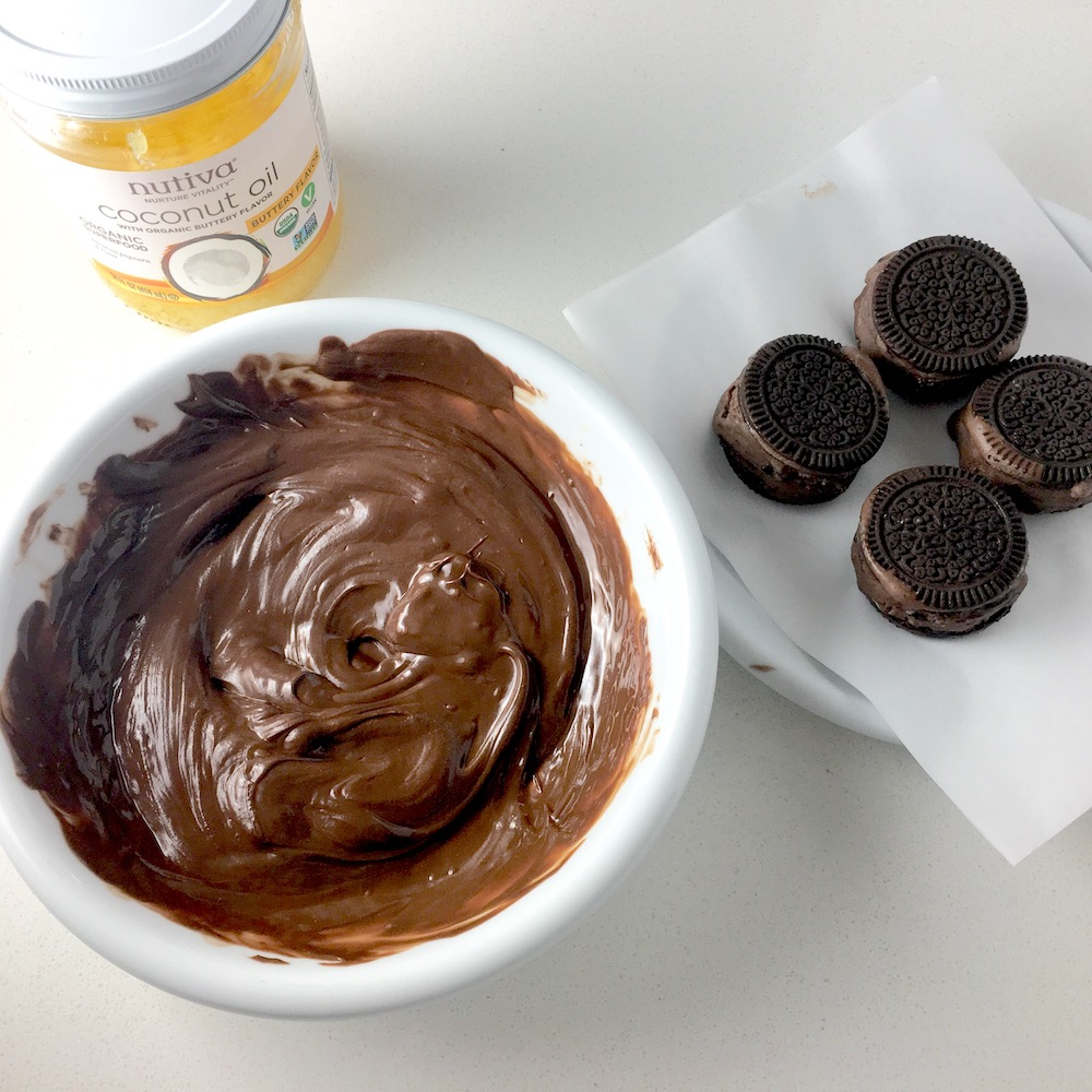 Chocolate Sandwich Cookie Ice Cream Sandwiches, making the chocolate coating with Pascha Chocolate and Nutiva Buttery Spread