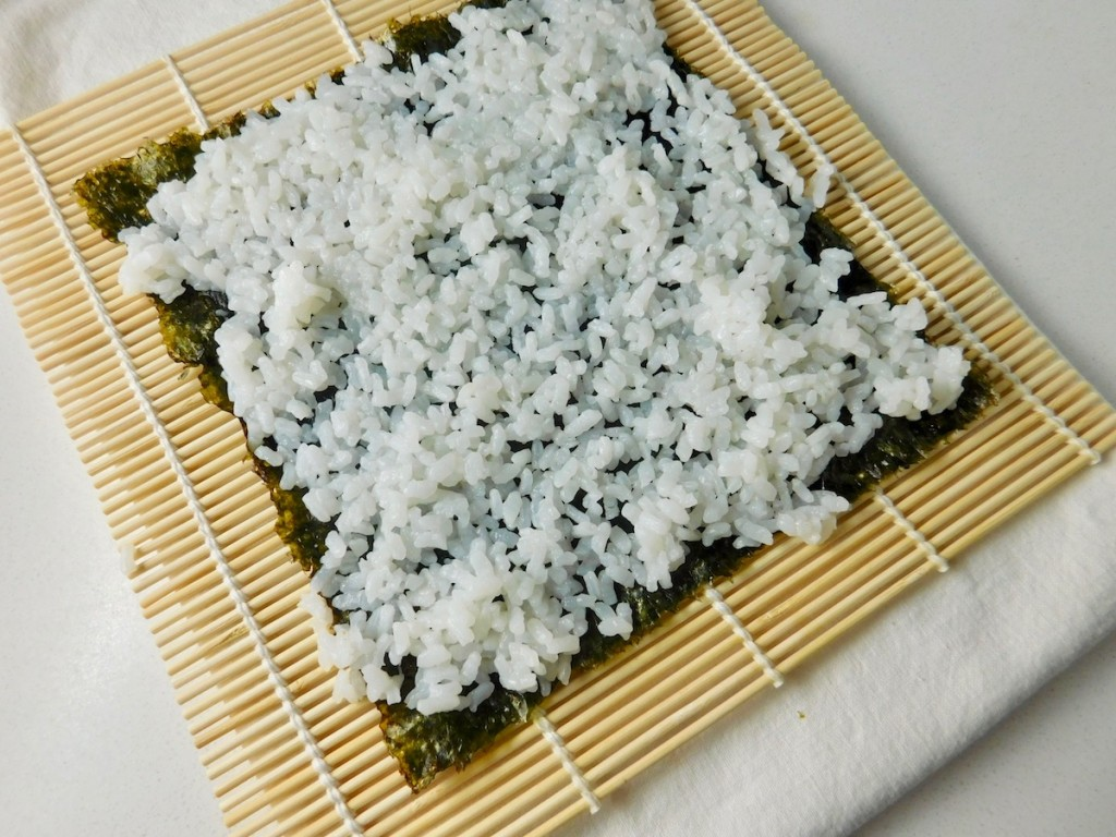 Simply Surimi California Roll - Laying out the sushi rice