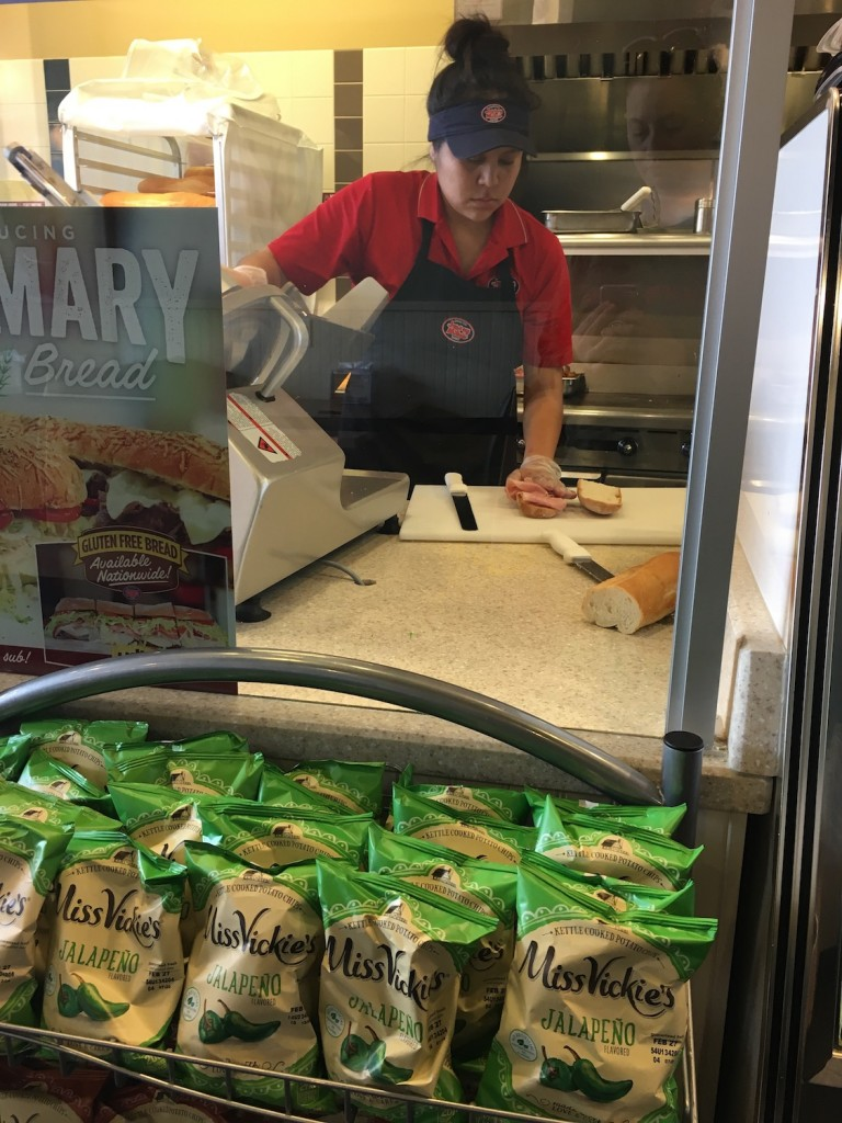Jersey Mike's Separate cutting board, knife, and spreader
