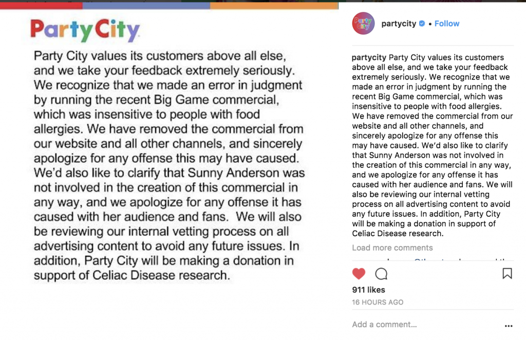 Party City Apologizing for Gluten Free