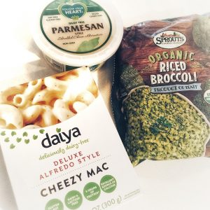 Easy Vegan Gluten Free Broccoli Alfredo with Daiya Cheezy Mac and Follow Your Heart Shredded Parm